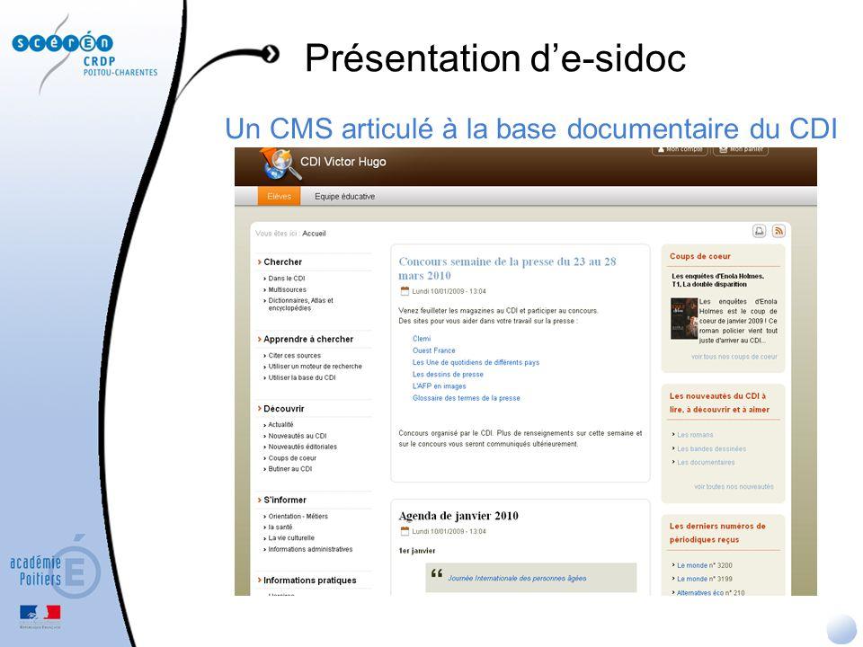 Exploitation des résultats e-sidoc : la recherche dans la base du CDI Possibilité de classer les résultats Possibilité de partager, citer, envoyer par mél ou mettre au panier une notice, émettre un avis (dans le 2d niveau daffichage)