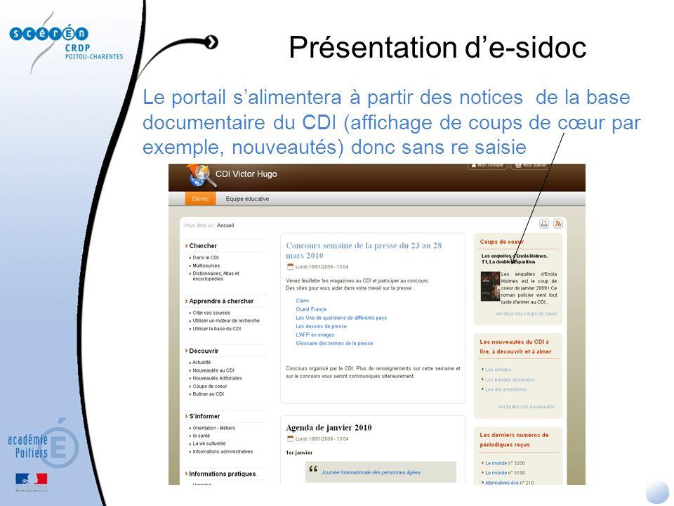 Pour la présentation des résultats (colonne centrale des résultats et colonne de droite pour les facettes), choix de se dégager du vocabulaire bibliothéconomique ou « base de données » e-sidoc : la recherche dans la base du CDI Facette « types de documents » qui fonctionne sur le champ support de BCDI Facette « Langues» qui naffiche plus les codes ISO des langues de BCDI Inversion du nom et prénom de lauteur, Affichage de « paru en ou le » plutôt que « Date de parution : 2007 »