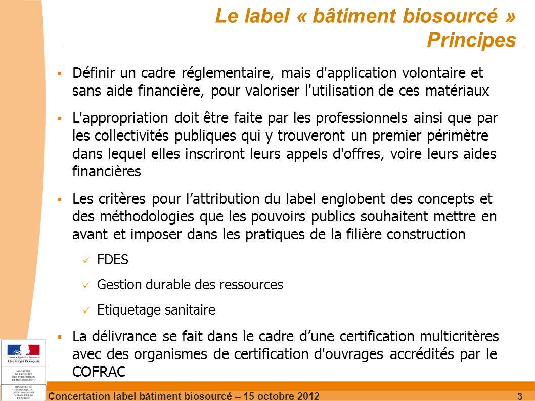 Concertation label bâtiment biosourcé – 15 octobre 2012 14 Hadjira Schmitt-Foudhil Chef de projet qualité environnementale produits & bâtiments DGALN – DHUP – QC – QC2