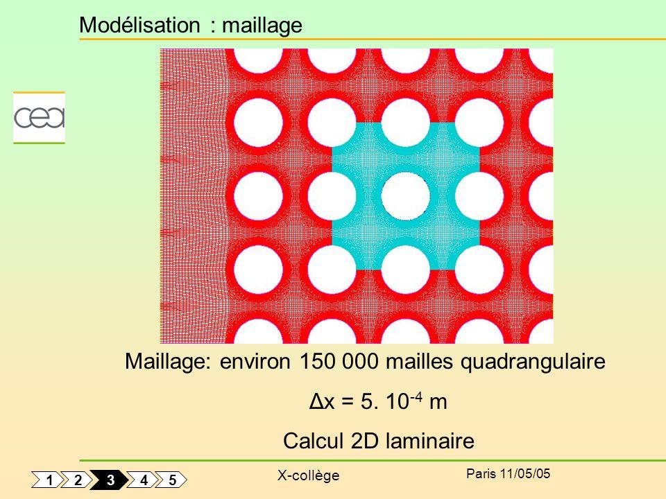 X-collège Paris 11/05/05 Modélisation : maillage Maillage: environ 150 000 mailles quadrangulaire Δx = 5. 10 -4 m Calcul 2D laminaire 1 5 4 2 3