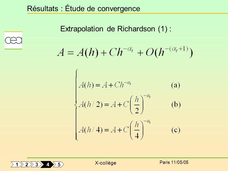 X-collège Paris 11/05/05 Résultats : Étude de convergence Extrapolation de Richardson (1) : 1 5 3 2 4