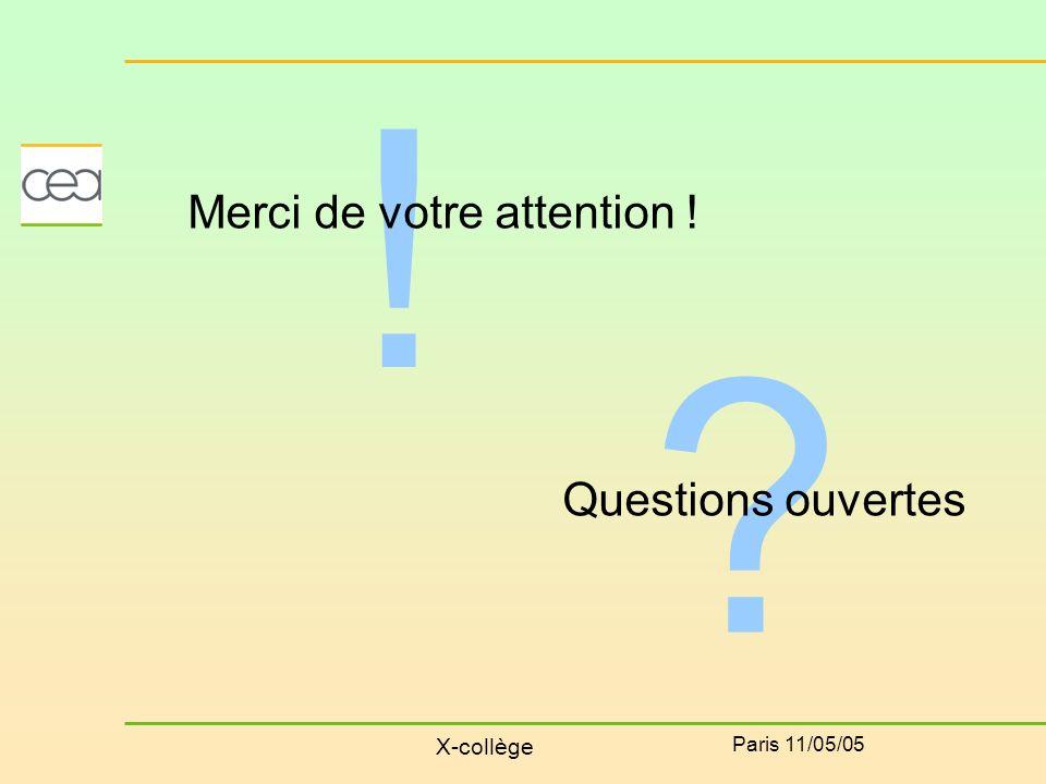 X-collège Paris 11/05/05 ! Merci de votre attention ! ? Questions ouvertes