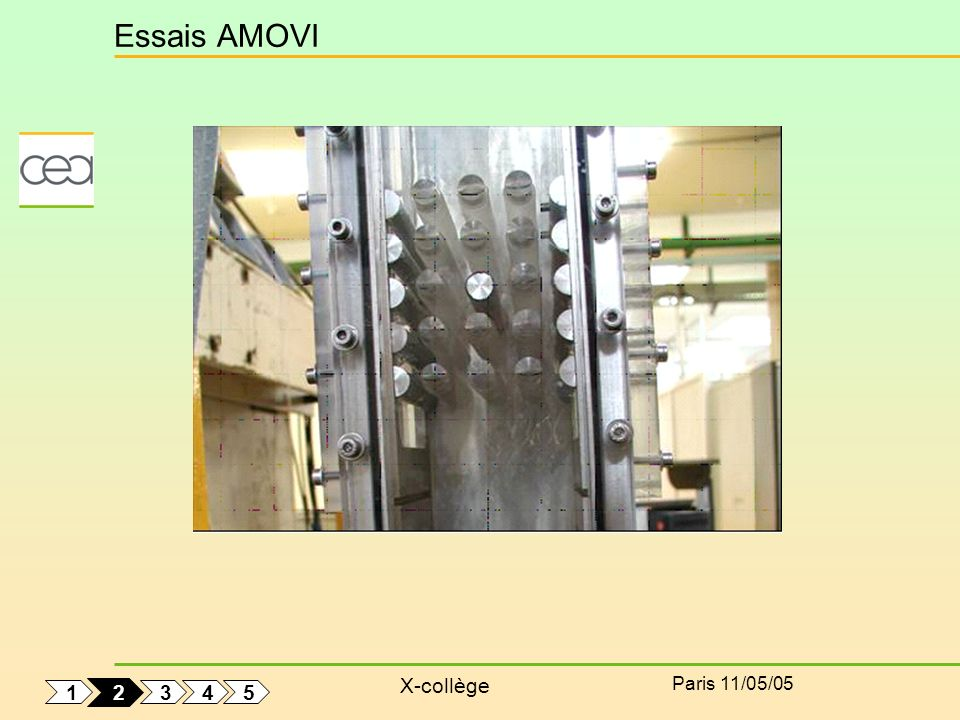 X-collège Paris 11/05/05 Essais AMOVI f air = 14 Hz D = 12.15 mm Un seul tube flexible Enregistrement du déplacement Analyse fréquentielle Amortissement et fréquence 1 5 4 3 2