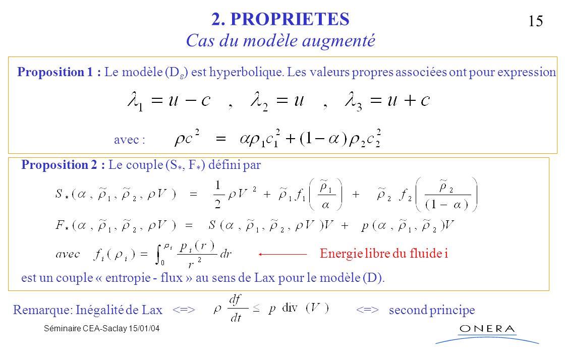 Séminaire CEA-Saclay 15/01/04 15 2. PROPRIETES Cas du modèle augmenté Proposition 1 : Le modèle (D ) est hyperbolique. Les valeurs propres associées o