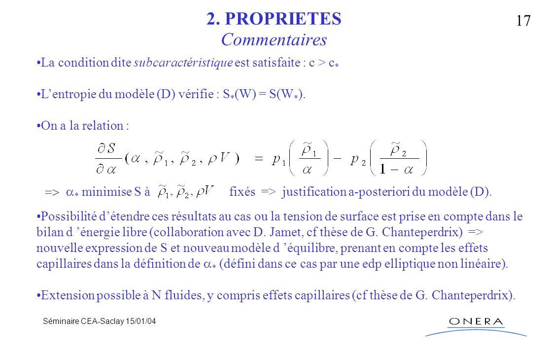Séminaire CEA-Saclay 15/01/04 17 2. PROPRIETES Commentaires La condition dite subcaractéristique est satisfaite : c > c * Lentropie du modèle (D) véri
