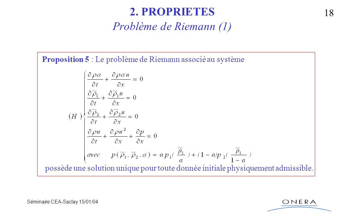 Séminaire CEA-Saclay 15/01/04 18 2. PROPRIETES Problème de Riemann (1) Proposition 5 : Le problème de Riemann associé au système possède une solution