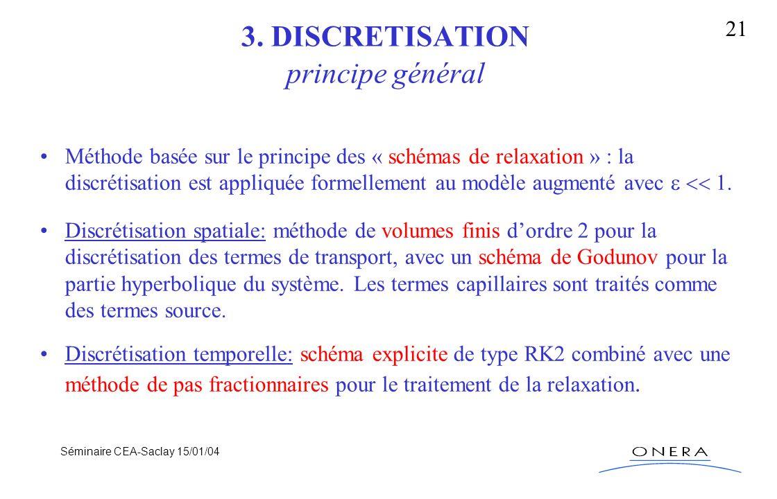 Séminaire CEA-Saclay 15/01/04 21 3. DISCRETISATION principe général Méthode basée sur le principe des « schémas de relaxation » : la discrétisation es