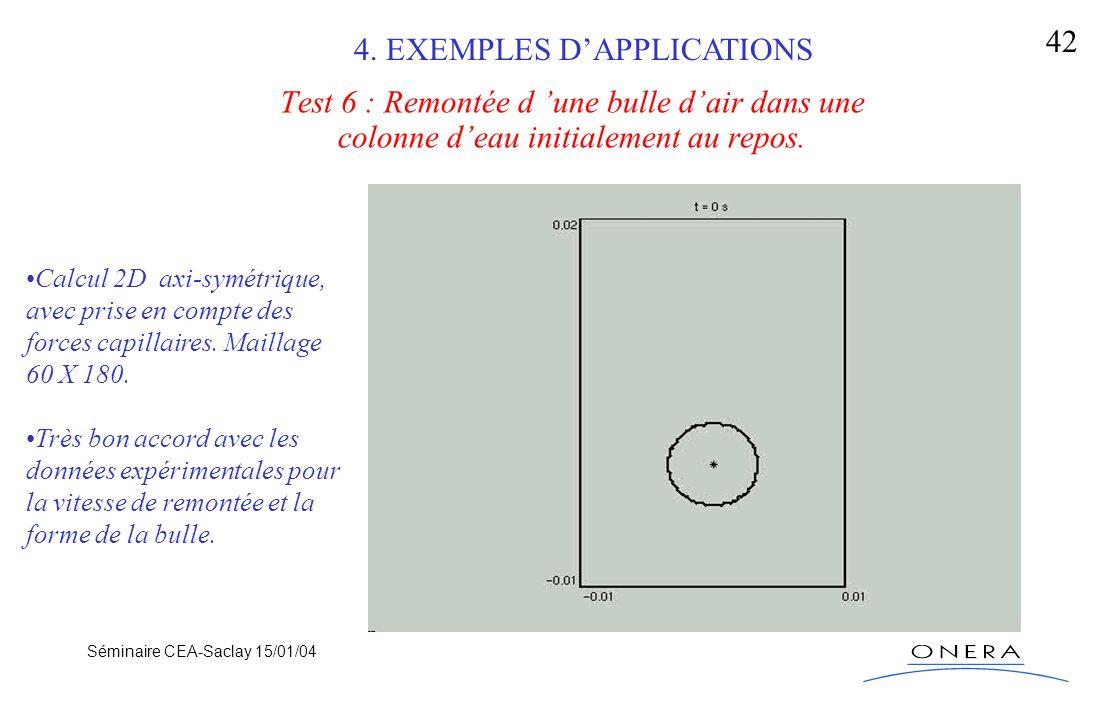 Séminaire CEA-Saclay 15/01/04 42 Test 6 : Remontée d une bulle dair dans une colonne deau initialement au repos. Calcul 2D axi-symétrique, avec prise