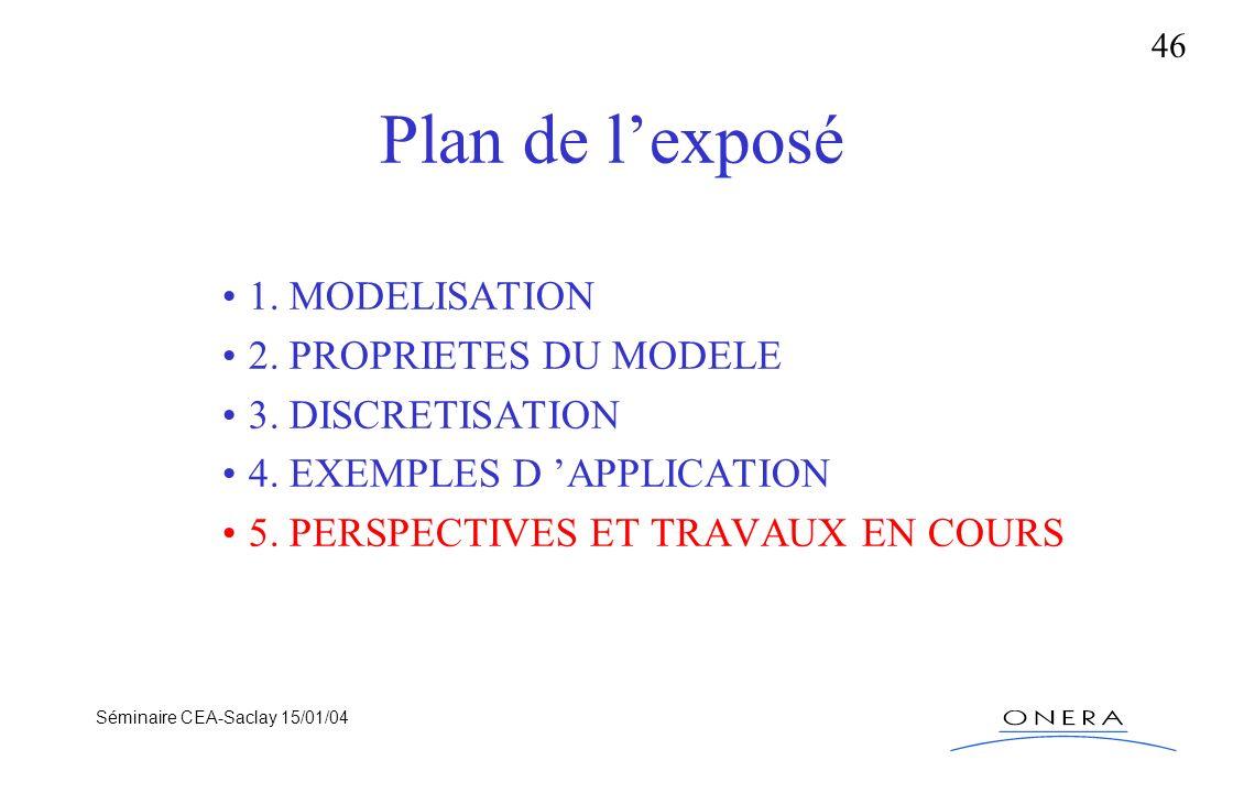 Séminaire CEA-Saclay 15/01/04 46 Plan de lexposé 1. MODELISATION 2. PROPRIETES DU MODELE 3. DISCRETISATION 4. EXEMPLES D APPLICATION 5. PERSPECTIVES E