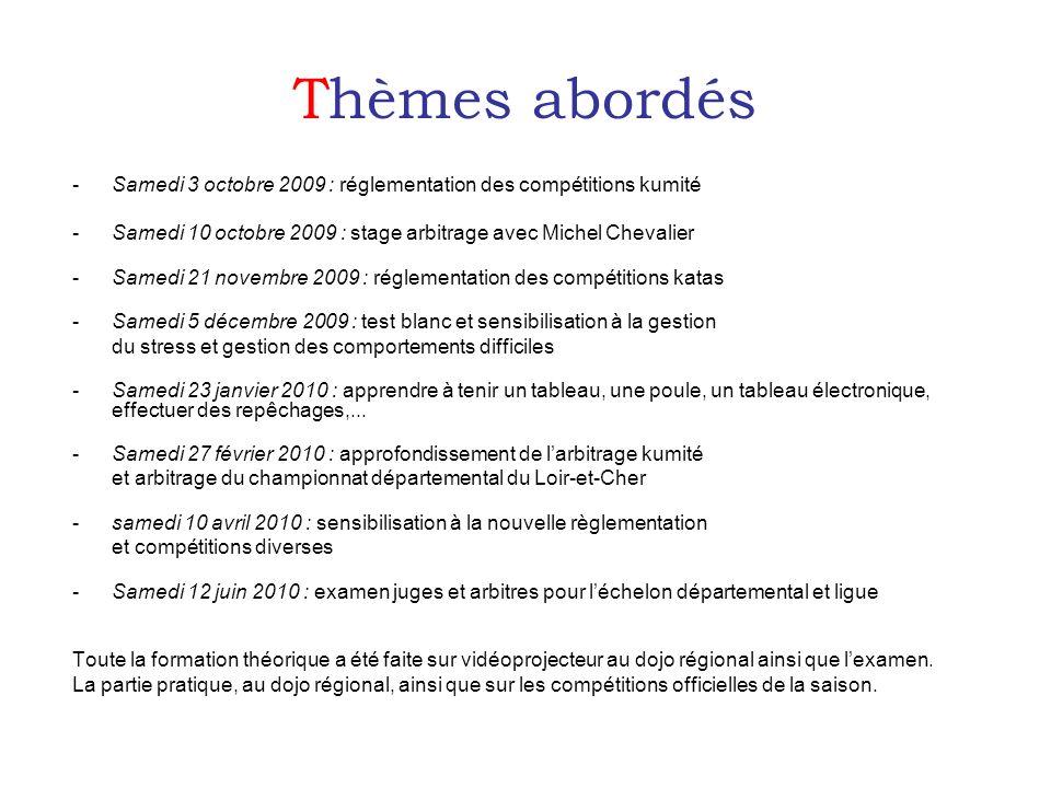 Thèmes abordés -Samedi 3 octobre 2009 : réglementation des compétitions kumité -Samedi 10 octobre 2009 : stage arbitrage avec Michel Chevalier -Samedi