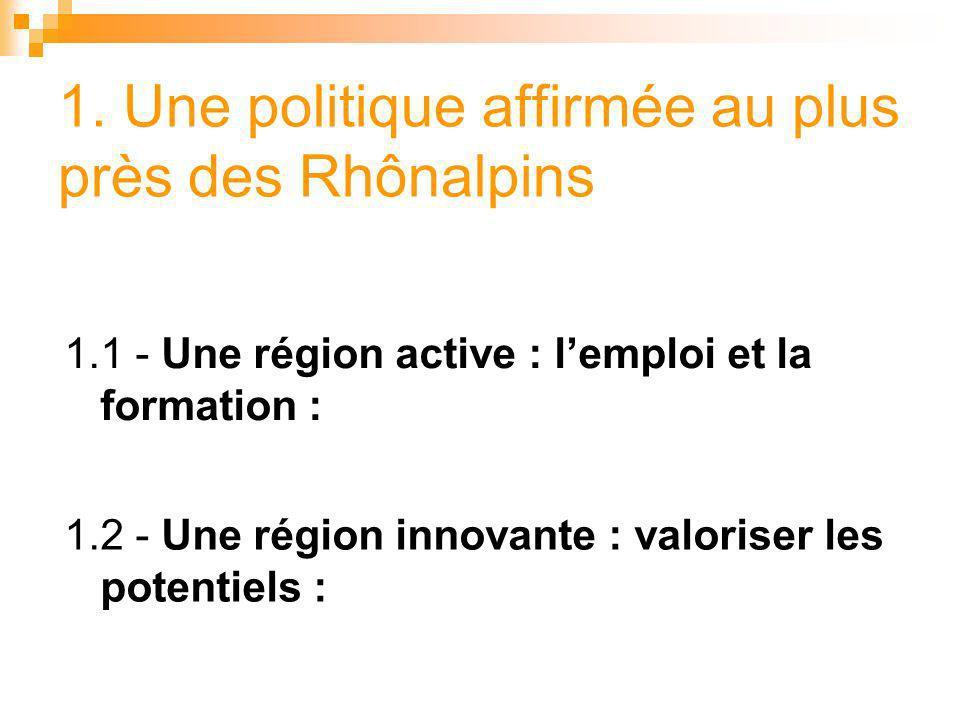 1. Une politique affirmée au plus près des Rhônalpins 1.1 - Une région active : lemploi et la formation : 1.2 - Une région innovante : valoriser les p