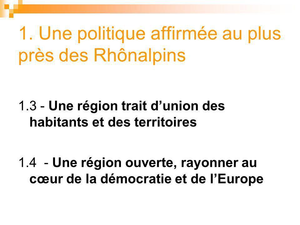 1. Une politique affirmée au plus près des Rhônalpins 1.3 - Une région trait dunion des habitants et des territoires 1.4 - Une région ouverte, rayonne