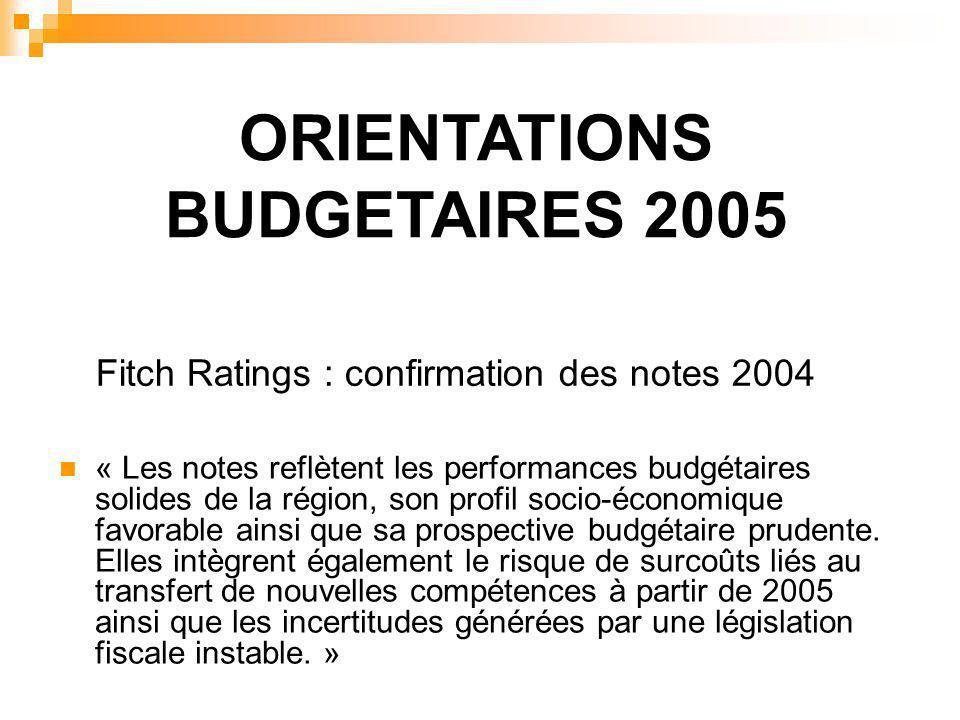 ORIENTATIONS BUDGETAIRES 2005 « Les notes reflètent les performances budgétaires solides de la région, son profil socio-économique favorable ainsi que sa prospective budgétaire prudente.