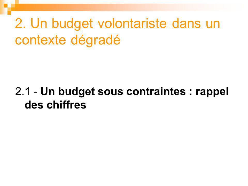 2. Un budget volontariste dans un contexte dégradé 2.1 - Un budget sous contraintes : rappel des chiffres