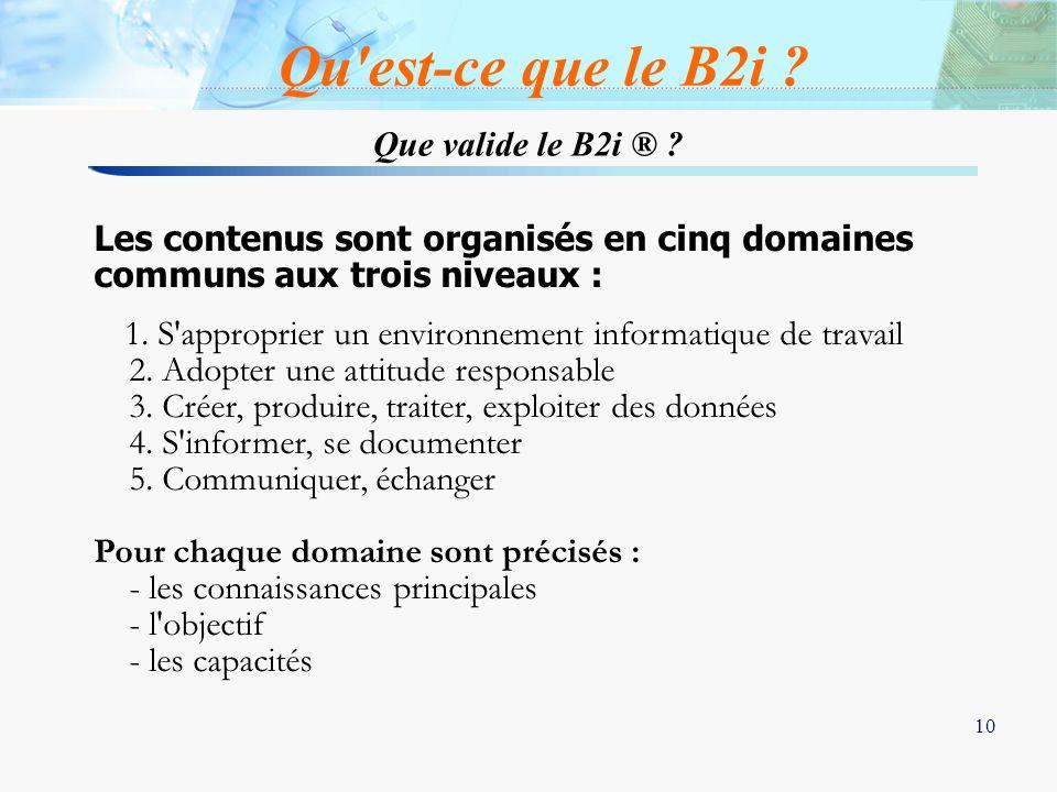 10 Que valide le B2i ® ? Qu'est-ce que le B2i ? Les contenus sont organisés en cinq domaines communs aux trois niveaux : 1. S'approprier un environnem