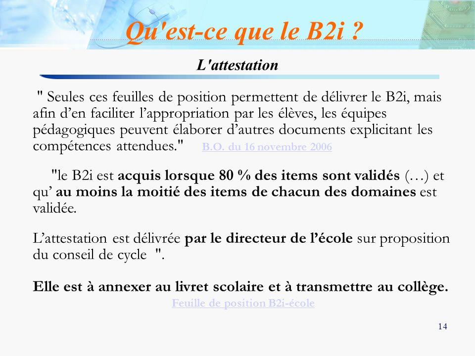 14 L'attestation Qu'est-ce que le B2i ?