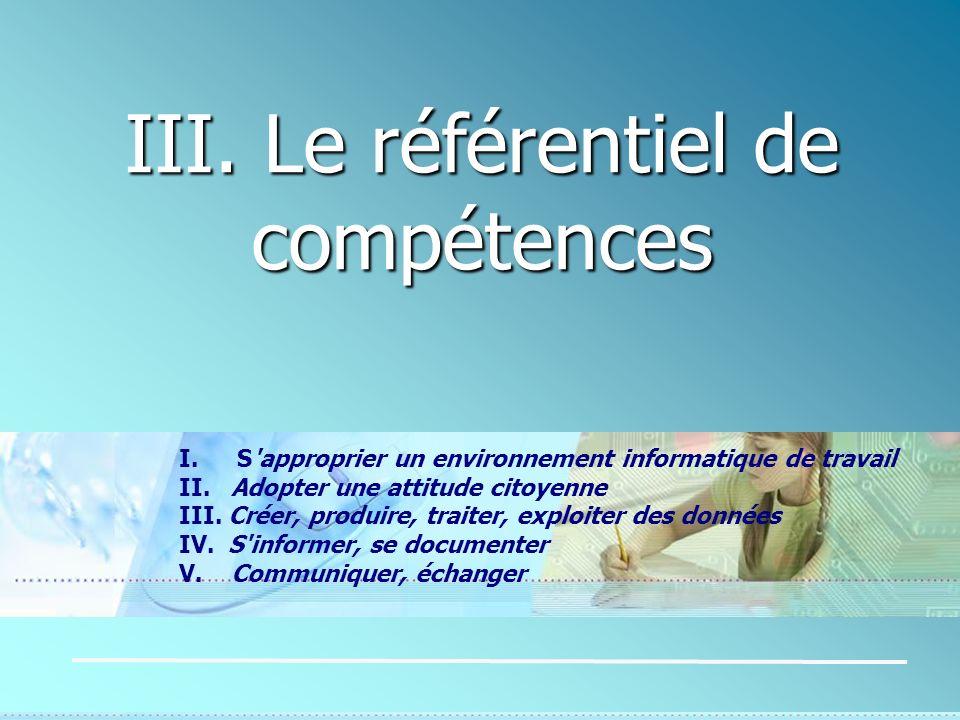 III. Le référentiel de compétences I. S'approprier un environnement informatique de travail II. Adopter une attitude citoyenne III. Créer, produire, t