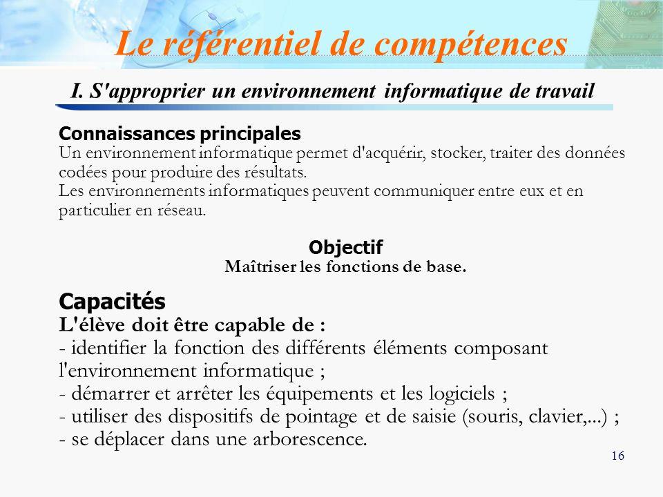 16 I. S'approprier un environnement informatique de travail Le référentiel de compétences Connaissances principales Un environnement informatique perm