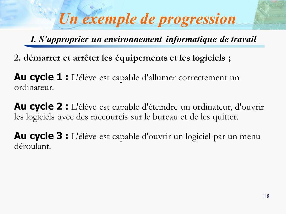 18 2. démarrer et arrêter les équipements et les logiciels ; Au cycle 1 : L'élève est capable d'allumer correctement un ordinateur. Au cycle 2 : L'élè