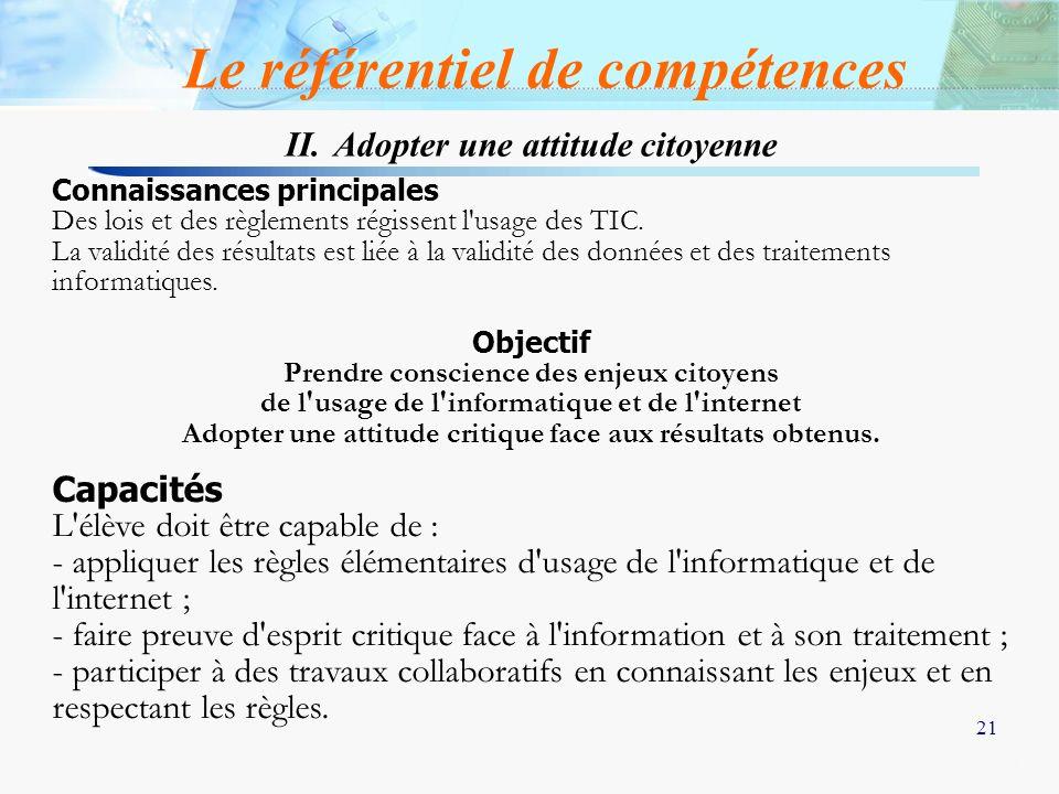 21 II. Adopter une attitude citoyenne Le référentiel de compétences Connaissances principales Des lois et des règlements régissent l'usage des TIC. La