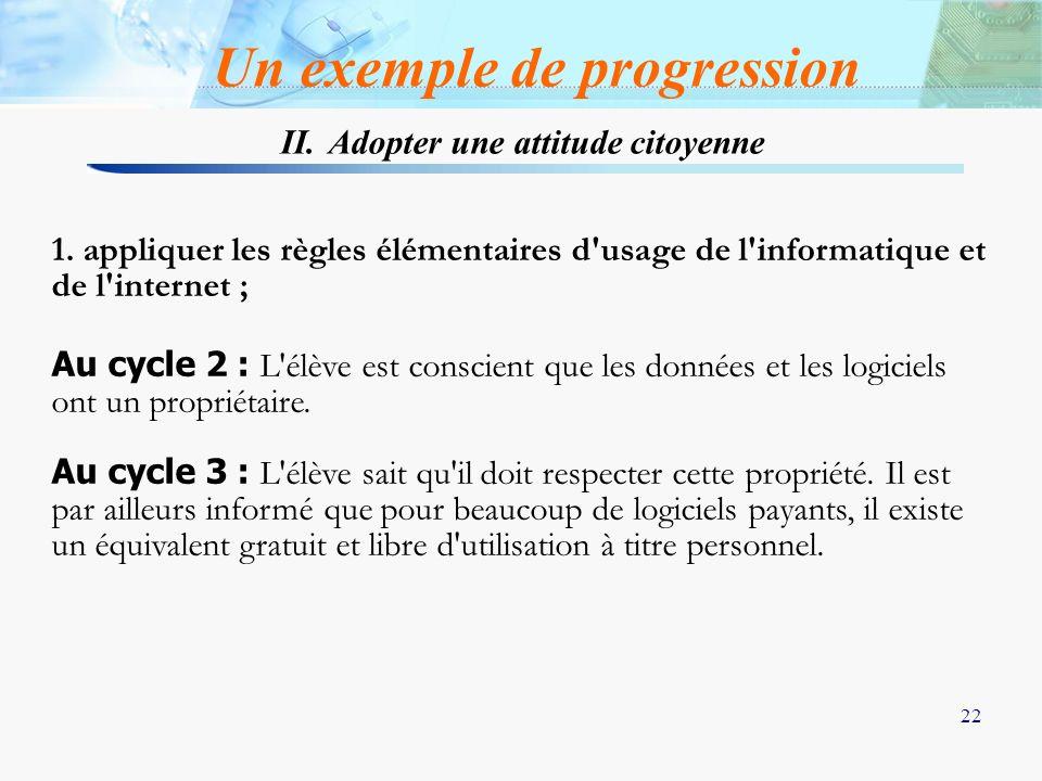 22 1. appliquer les règles élémentaires d'usage de l'informatique et de l'internet ; Au cycle 2 : L'élève est conscient que les données et les logicie