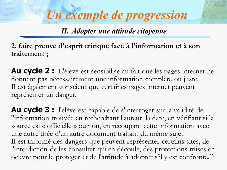 23 2. faire preuve d'esprit critique face à l'information et à son traitement ; Au cycle 2 : L'élève est sensibilisé au fait que les pages internet ne