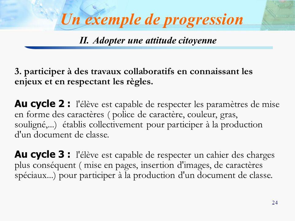 24 3. participer à des travaux collaboratifs en connaissant les enjeux et en respectant les règles. Au cycle 2 : l'élève est capable de respecter les