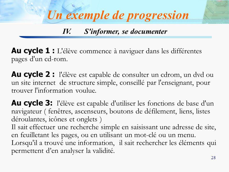 28 Au cycle 1 : L'élève commence à naviguer dans les différentes pages d'un cd-rom. Au cycle 2 : l'élève est capable de consulter un cdrom, un dvd ou