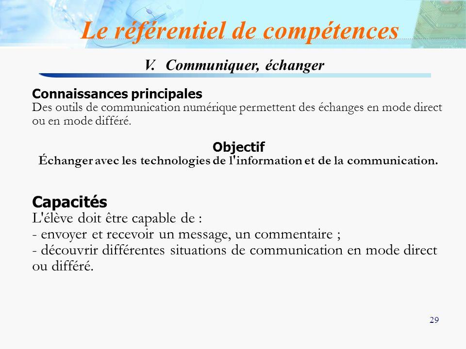 29 V. Communiquer, échanger Le référentiel de compétences Connaissances principales Des outils de communication numérique permettent des échanges en m