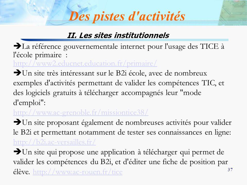 37 La référence gouvernementale internet pour l'usage des TICE à l'école primaire : http://www2.educnet.education.fr/primaire/ Un site très intéressan