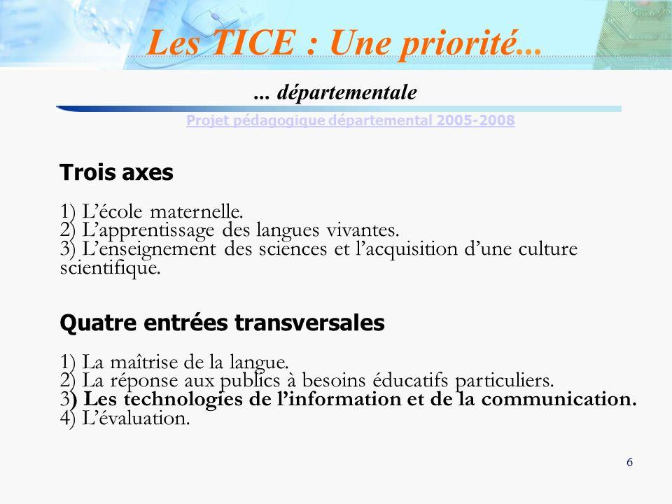 6 6... départementale Projet pédagogique départemental 2005-2008 Trois axes 1) Lécole maternelle. 2) Lapprentissage des langues vivantes. 3) Lenseigne
