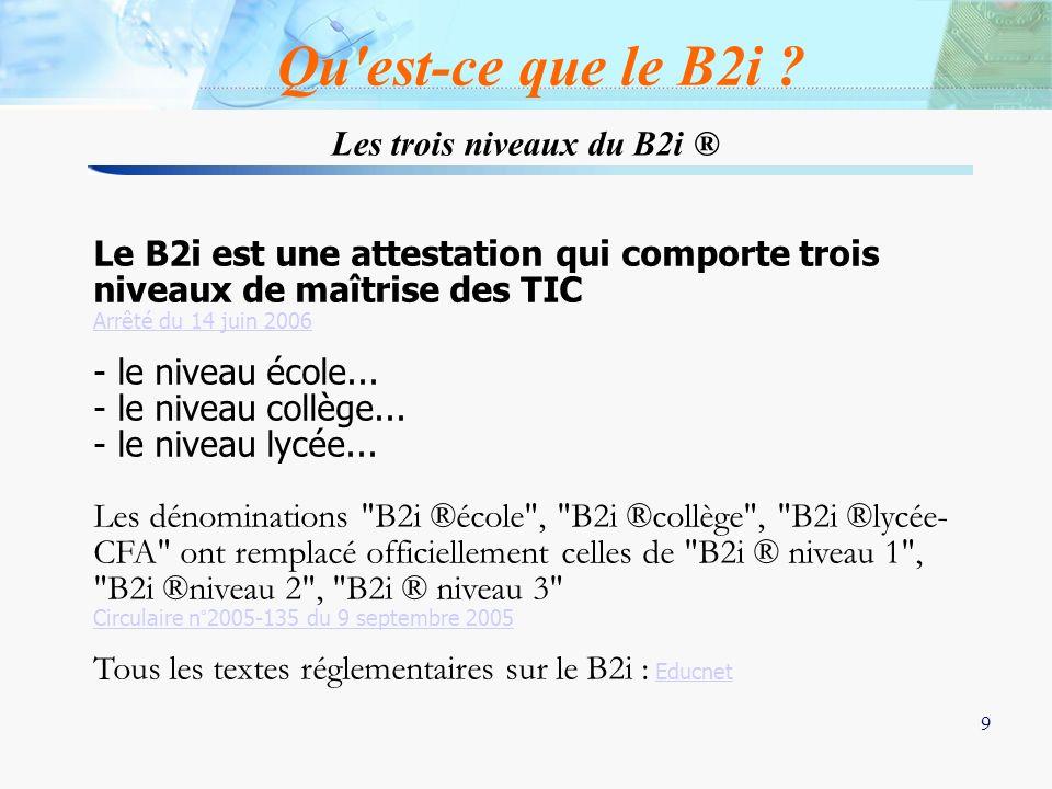 9 9 Les trois niveaux du B2i ® Le B2i est une attestation qui comporte trois niveaux de maîtrise des TIC Arrêté du 14 juin 2006 - le niveau école... -