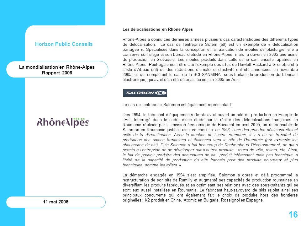 Horizon Public Conseils 11 mai 2006 Les délocalisations en Rhône-Alpes Rhône-Alpes a connu ces dernières années plusieurs cas caractéristiques des dif
