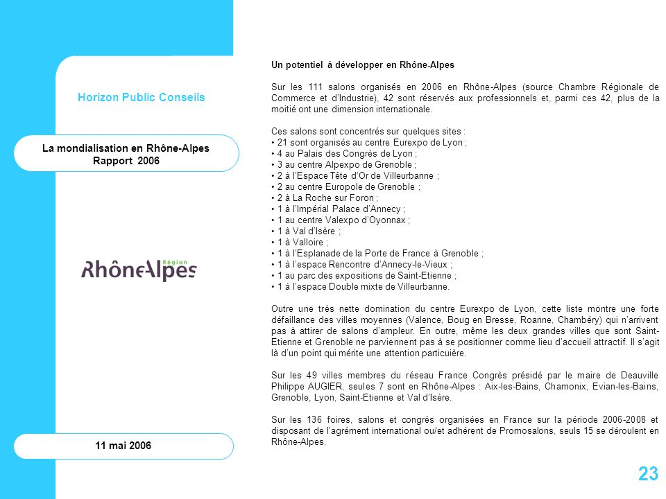 Horizon Public Conseils 11 mai 2006 Un potentiel à développer en Rhône-Alpes Sur les 111 salons organisés en 2006 en Rhône-Alpes (source Chambre Régio