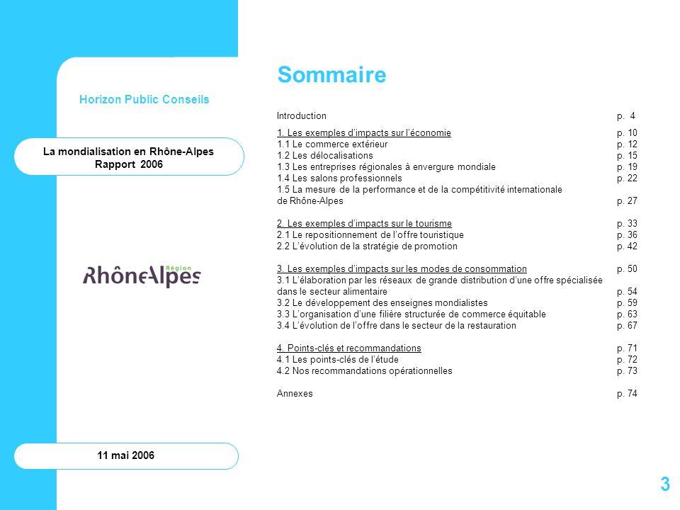 Horizon Public Conseils 11 mai 2006 Annexes La mondialisation en Rhône-Alpes Rapport 2006 74
