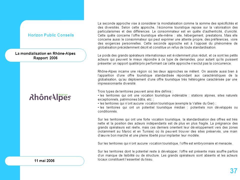 Horizon Public Conseils 11 mai 2006 La seconde approche vise à considérer la mondialisation comme la somme des spécificités et des diversités. Selon c
