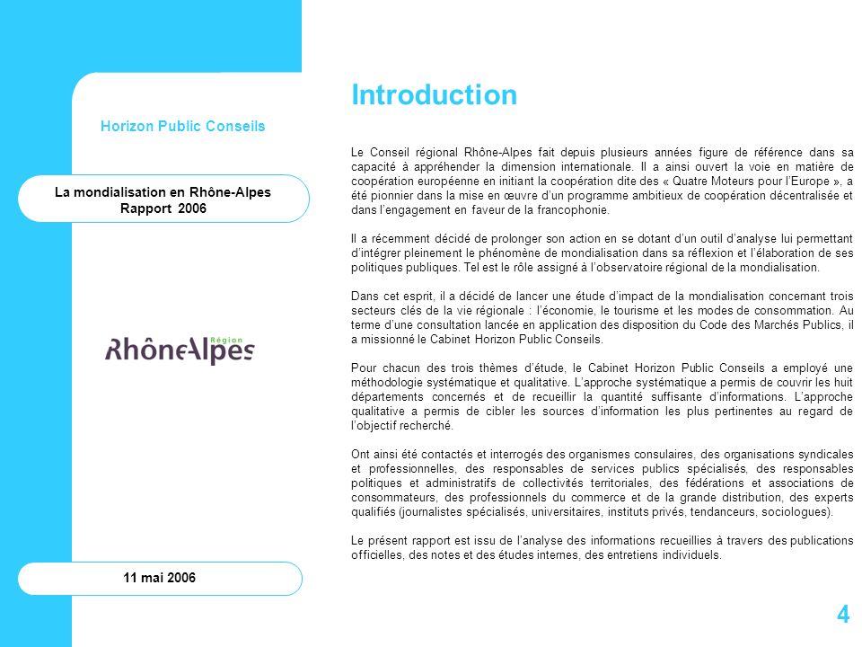 Horizon Public Conseils 11 mai 2006 Annexes Annexe 1 – Liste des organismes consultés Annexe 2 – Indications bibliographiques Annexe 3 – Liste des foires et salons se tenant en Rhône-Alpes sur la période 2006-2008 disposant de lagrément international et/ou adhérent de Promosalons Annexe 4 – Premières rencontres Rhône-Alpes de la mondialisation Annexe 5 – Tableau de bord de la mission détude La mondialisation en Rhône-Alpes Rapport 2006 75