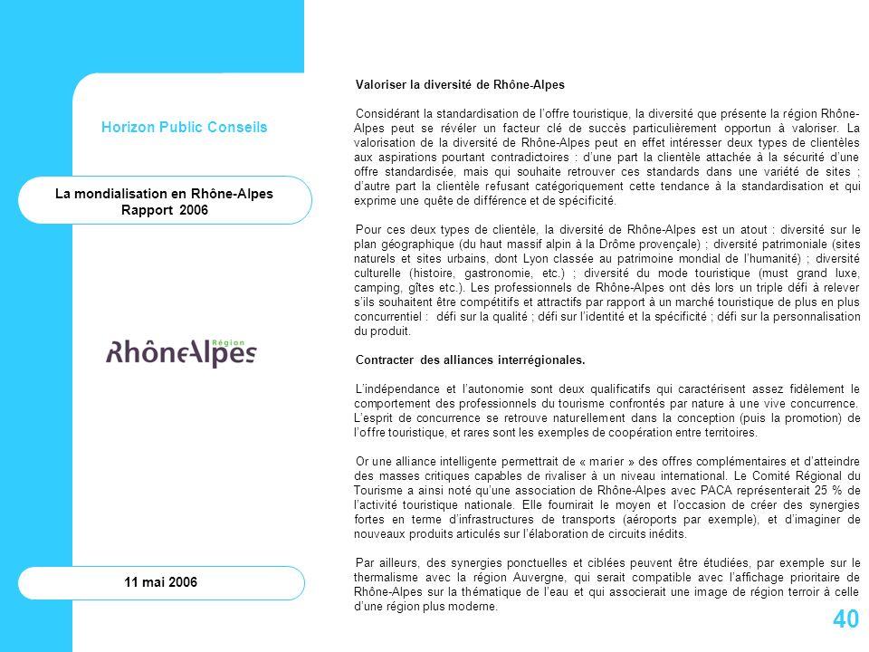 Horizon Public Conseils 11 mai 2006 Valoriser la diversité de Rhône-Alpes Considérant la standardisation de loffre touristique, la diversité que prése