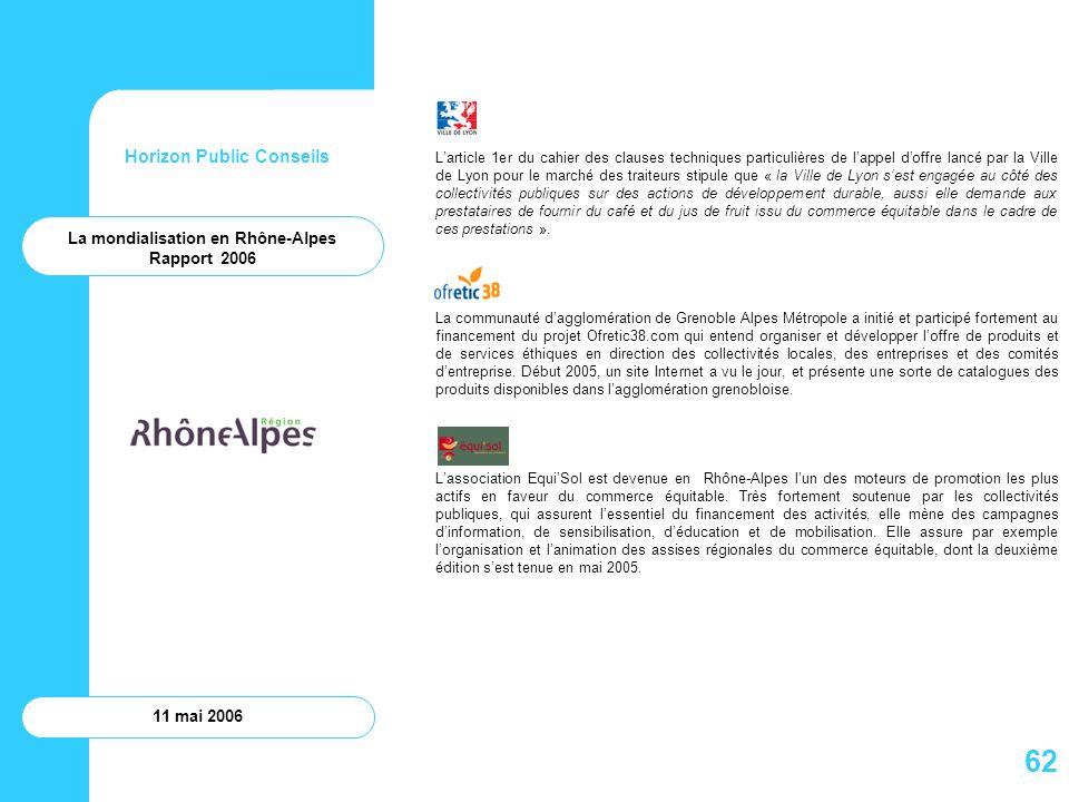 Horizon Public Conseils 11 mai 2006 La mondialisation en Rhône-Alpes Rapport 2006 Larticle 1er du cahier des clauses techniques particulières de lappe
