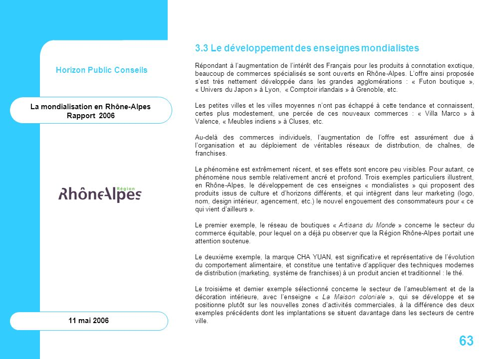 Horizon Public Conseils 11 mai 2006 La mondialisation en Rhône-Alpes Rapport 2006 3.3 Le développement des enseignes mondialistes Répondant à laugment