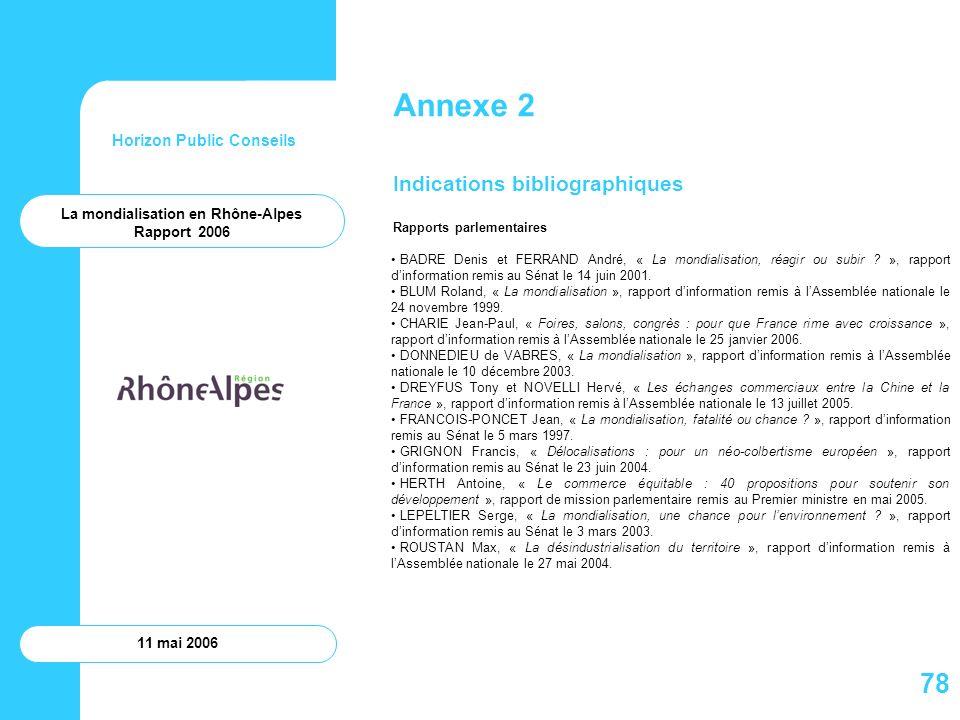 Horizon Public Conseils 11 mai 2006 Annexe 2 Indications bibliographiques Rapports parlementaires BADRE Denis et FERRAND André, « La mondialisation, r