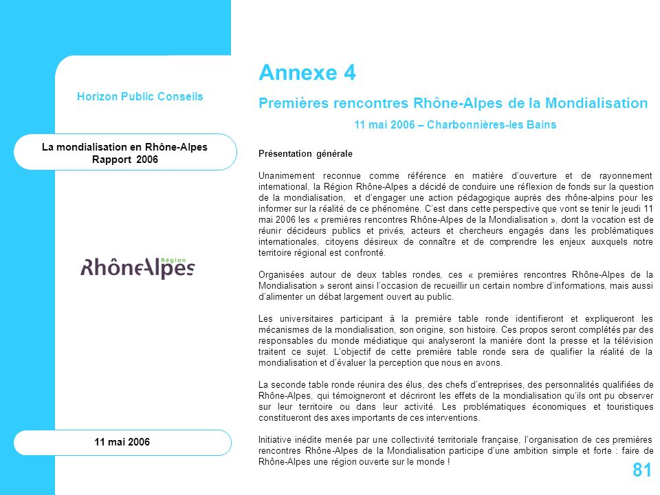 Horizon Public Conseils 11 mai 2006 Annexe 4 Premières rencontres Rhône-Alpes de la Mondialisation 11 mai 2006 – Charbonnières-les Bains Présentation