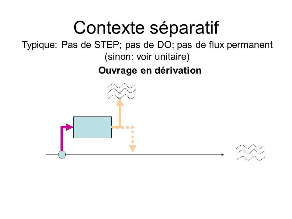 Contexte séparatif Ouvrage en dérivation Typique: Pas de STEP; pas de DO; pas de flux permanent (sinon: voir unitaire)