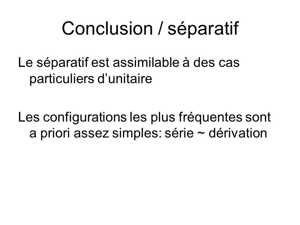 Conclusion / séparatif Le séparatif est assimilable à des cas particuliers dunitaire Les configurations les plus fréquentes sont a priori assez simples: série ~ dérivation