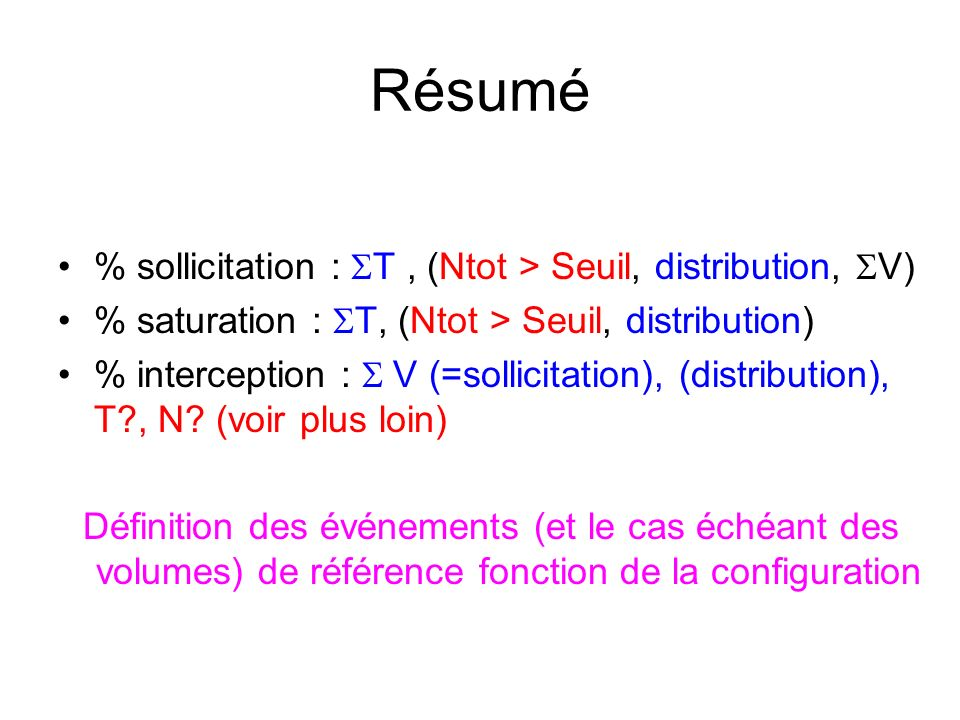 Résumé % sollicitation : T, (Ntot > Seuil, distribution, V) % saturation : T, (Ntot > Seuil, distribution) % interception : V (=sollicitation), (distribution), T , N.