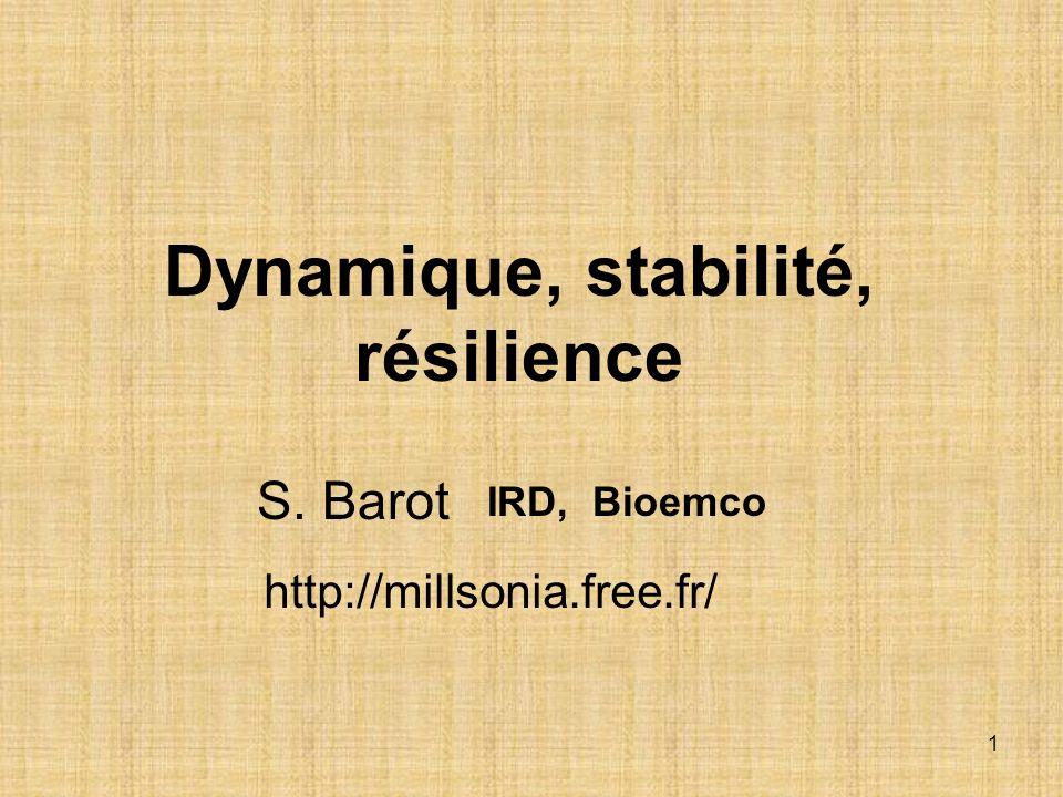 2 Barot Objectifs du cours + TD Partir dun problème complexe Etudier les notions permettant daborder ce problème en cours: dynamique, résilience, stabilité Résoudre le problème en TD Montrer en quoi ce sont des notions fondamentales en écologie, en utilisant des exemples variés