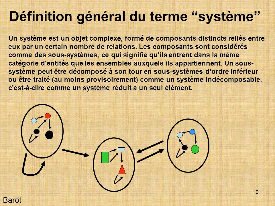 10 Barot Définition général du terme système Un système est un objet complexe, formé de composants distincts reliés entre eux par un certain nombre de relations.