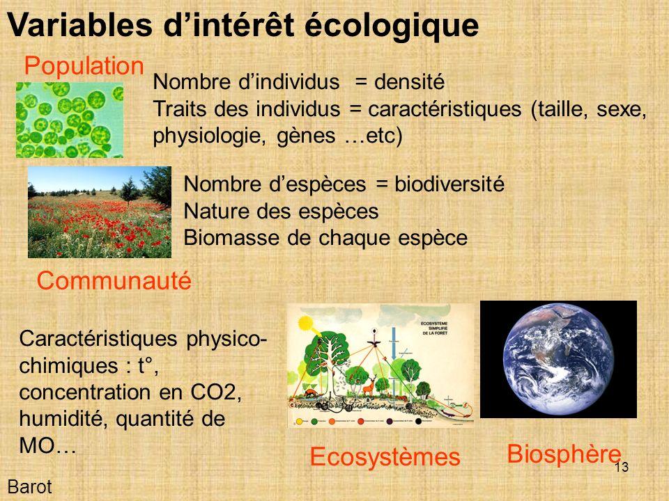 13 Barot Variables dintérêt écologique Population Communauté Ecosystèmes Biosphère Nombre dindividus = densité Traits des individus = caractéristiques (taille, sexe, physiologie, gènes …etc) Nombre despèces = biodiversité Nature des espèces Biomasse de chaque espèce Caractéristiques physico- chimiques : t°, concentration en CO2, humidité, quantité de MO…