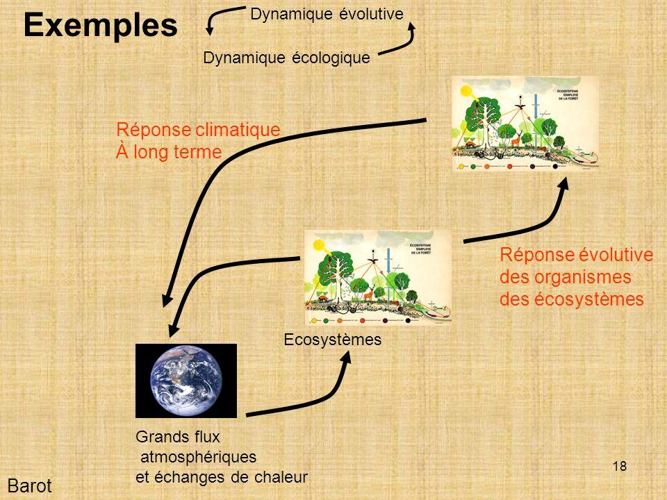 18 Barot Exemples Grands flux atmosphériques et échanges de chaleur Ecosystèmes Réponse évolutive des organismes des écosystèmes Réponse climatique À long terme Dynamique écologique Dynamique évolutive