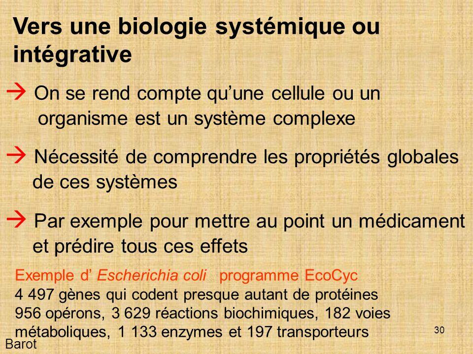 30 Vers une biologie systémique ou intégrative On se rend compte quune cellule ou un organisme est un système complexe Barot Nécessité de comprendre les propriétés globales de ces systèmes Par exemple pour mettre au point un médicament et prédire tous ces effets Exemple d Escherichia coli programme EcoCyc 4 497 gènes qui codent presque autant de protéines 956 opérons, 3 629 réactions biochimiques, 182 voies métaboliques, 1 133 enzymes et 197 transporteurs